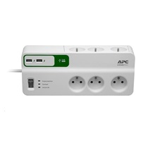 APC Essential SurgeArrest 6 outlets with 5V, 2.4A 2 port USB charger, 230V France, 1.83m